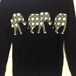 Rue 21 Elephant  Small Black & white sweater